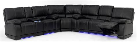 Bar Height Dining Room Sets electra power reclining sectional with led lights