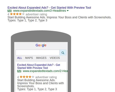 Preview Expanded Text Ads With Adwords Mock Up Tool Karooya Expanded Text Ads Template