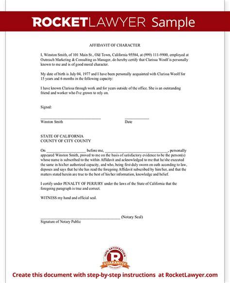 affidavit of good moral character character affidavit