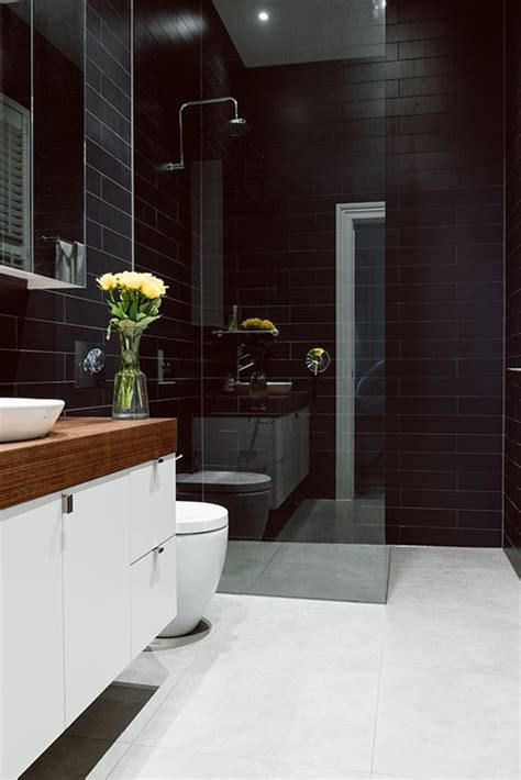 Black And White Wall For Bathroom by White Floors Black Wall Tiles Bathroom Bathrooms
