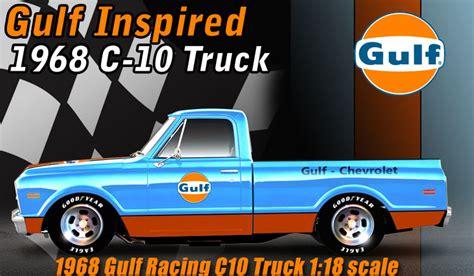 gulf racing truck 1968 chevy camaro 6 gulf 1968 truck trailer by gmp