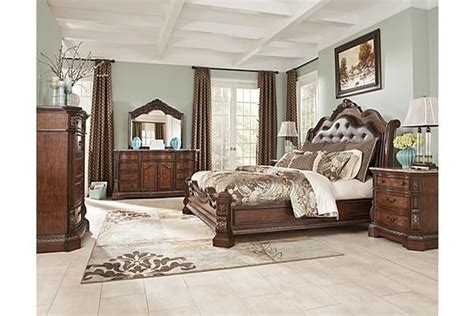 dark cherry anondale collection marble top bedroom set the ledelle sleigh bedroom set from ashley furniture