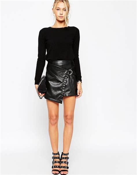 asos asos mini wrap skirt in leather look at asos