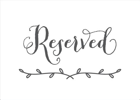 Reserved Sign Template Wedding Reception Signs Diy Place Reserved Table Sign Template