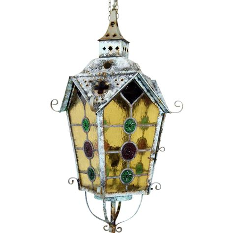 stained glass hanging l leaded and stained glass brass hanging lantern from
