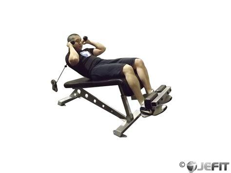 decline bench cable crunch exercise  jefit