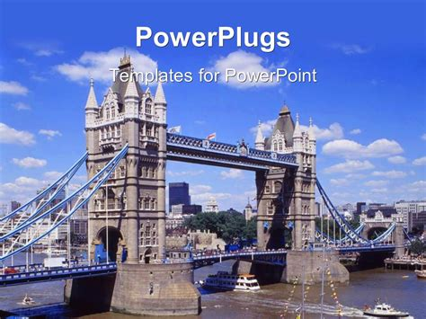 Powerpoint Template Boats Traveling Under London S Tower Bridge Over The Thames River 16334 Microsoft Powerpoint Templates Uk