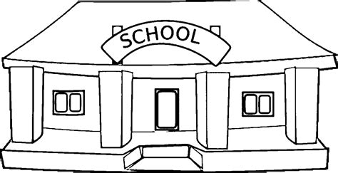 School Building Coloring Pages black and white school building clipart clipartsgram
