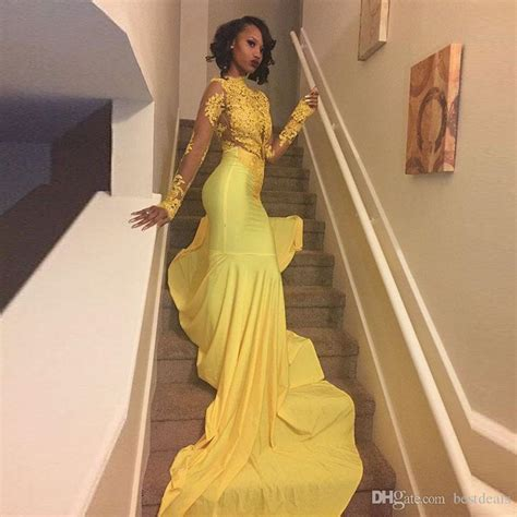 Sexy African Black Girls Yellow Mermaid Prom Dresses 2017 Court Train Appliques Lace Long Sleeve