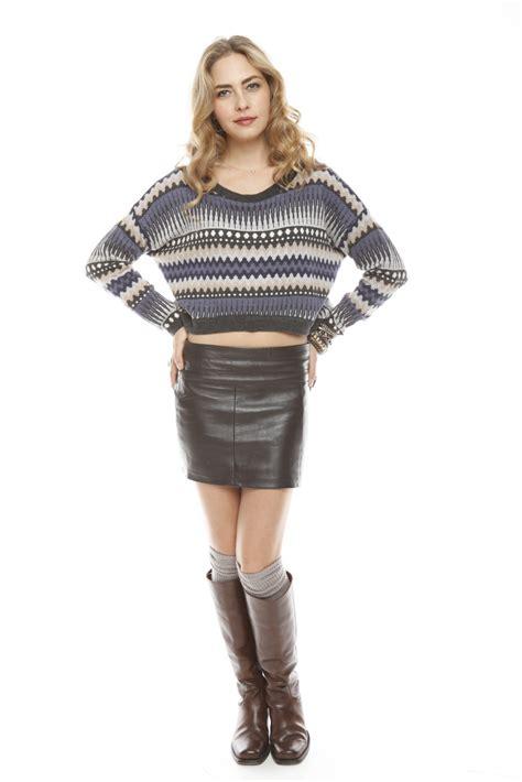 castillo brown leather mini skirt from east