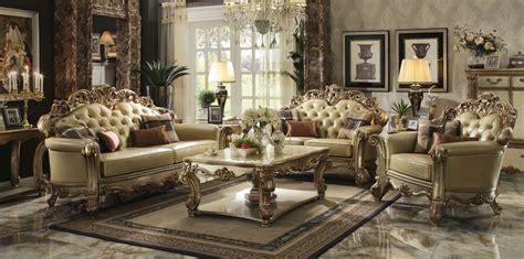 gold patina vendome royal living set  acme furniture