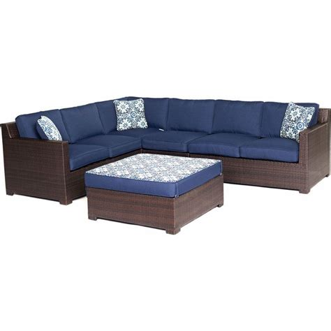 all weather wicker deep seating cushion outdoor recliner hanover metropolitan french roast 5 piece aluminum all