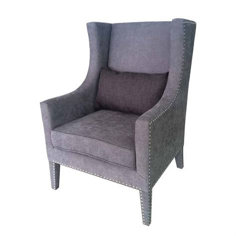 cushioned bench with back modern gray back nail cushioned trim wing chair