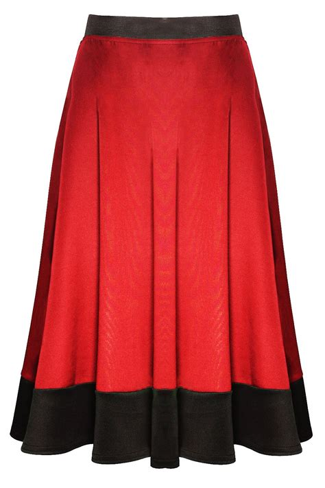 womens midi skirt mid length scuba stretch flared