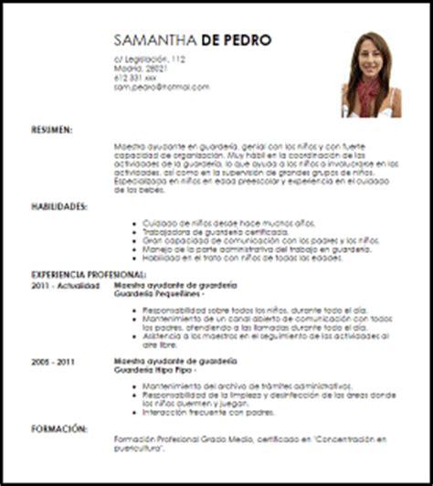 Modelo De Curriculum Vitae Para Trabajo De Docente Modelo Curriculum Vitae Maestra Ayudante En Guarder 237 A Livecareer