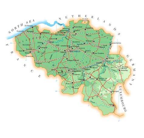 map of belgium airports detailed elevation map of belgium with roads cities and