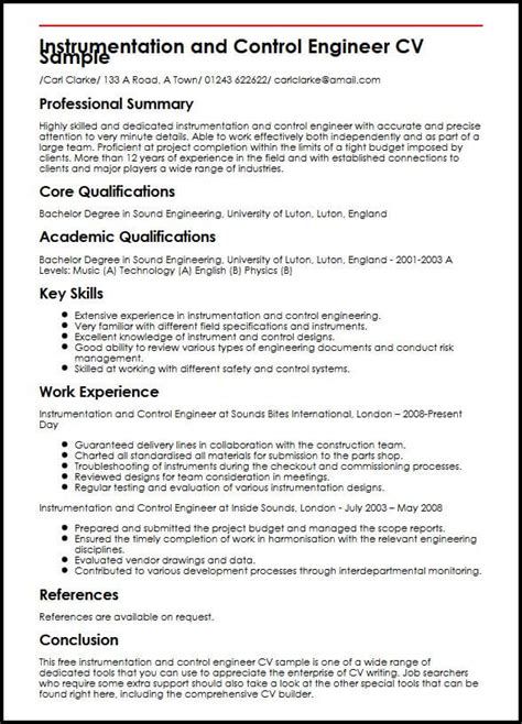 best cv exles for engineers instrumentation and engineer cv sle myperfectcv