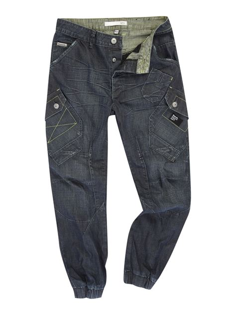 mens bench jeans bench kiedis carrot shaped fitted jeans in blue for men
