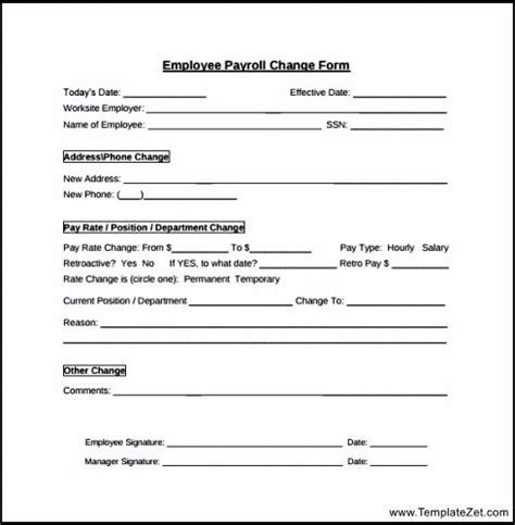 employee change form template payroll change form employee templatezet