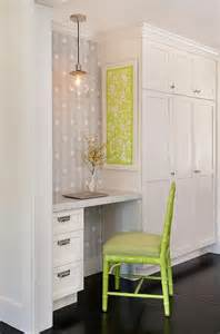 Small Built In Desk Area Built In Desk Transitional Kitchen Summer Thornton