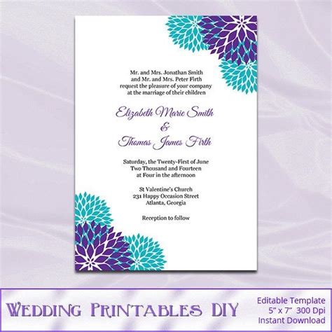 Garden Wedding Invitation Card Template by Wedding Invitation Card Template Editable Template