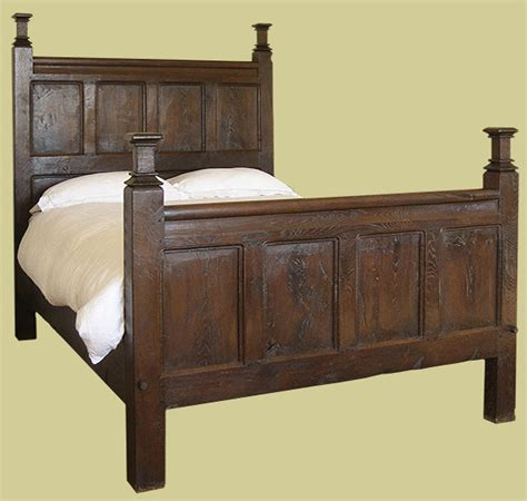 beds with posts period style oak panelled bed with square cut finials