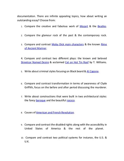 Compare And Contrast Essay Topics by Top 10 Compare And Contrast Essay Topics