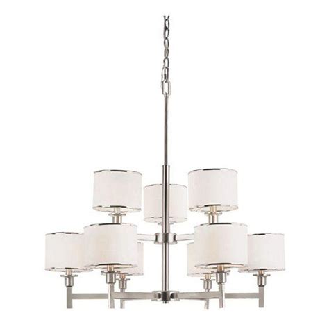 Bel Air Lighting Chandelier Bel Air Lighting Cabernet Collection 9 Light Brushed Nickel Chandelier With White Linen Shade