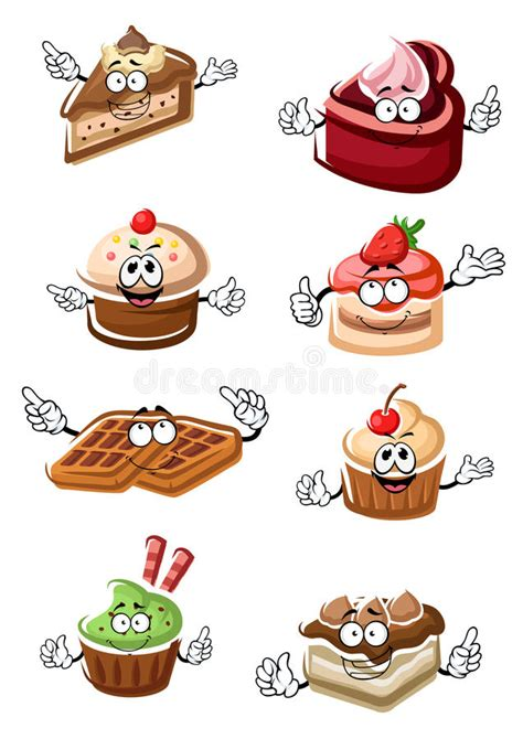 fruity desserts cakes cupcakes  waffles stock vector image