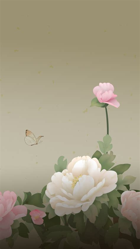 peony flowers butterfly android wallpaper