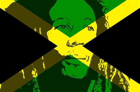 Home Blogs Decor by Bob Marley On Jamaican Flag Mixed Media By Dan Sproul