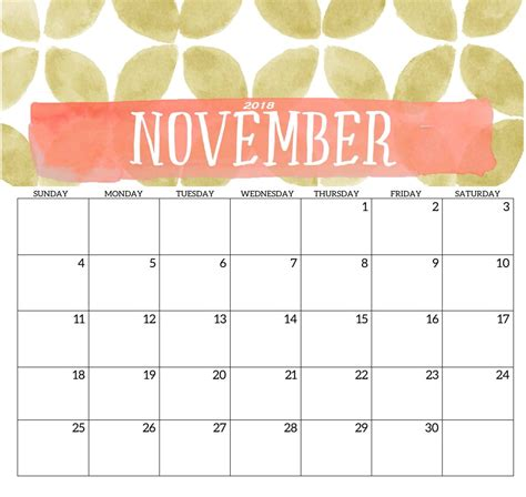 november calendar template 2018 monthly printable templates calendar 2018