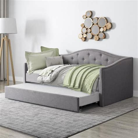 corliving fairfield grey tufted fabric trundle twinsingle