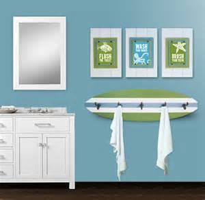 surf bathroom ideas kid s bathroom print set and surfboard towel rack