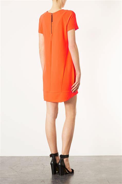 lyst topshop crepe tee shift dress  orange