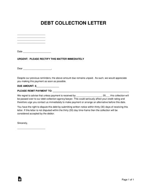Free Debt Collections Letter Template Word Pdf Eforms Free Fillable Forms Debt Collection Letter Template