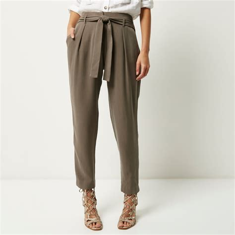 Ring Modal Trousers Mango river island khaki soft tie waist tapered trousers in