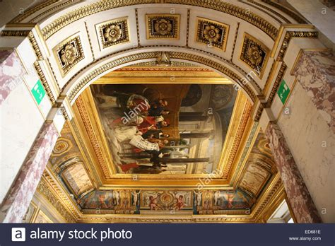 Louvre Interior by Louvre Museum Interior Arch Ceiling Painting Stock Photo