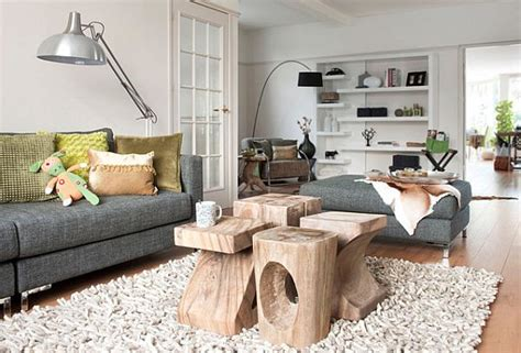 sculpted logs as coffee table in bright living room design