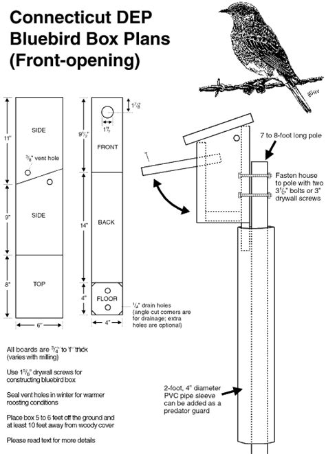 Eastern Bluebird Nest Box Plans Bluebird House Plans Pdf