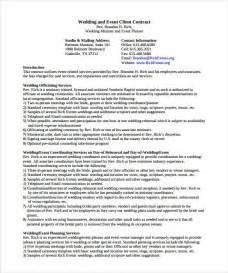 Event Planner Contract Agreement by Doc 642769 Event Planning Contract Templates Free Bizdoska