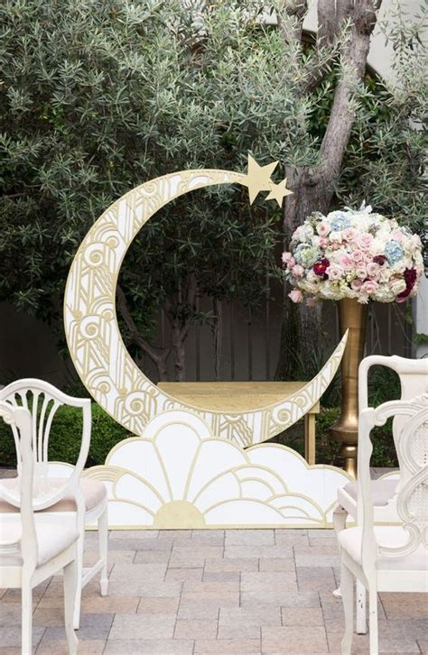 Wedding Backdrop Moon by Picture Of 1920s Inspired Gold Patterned Crescent Moon