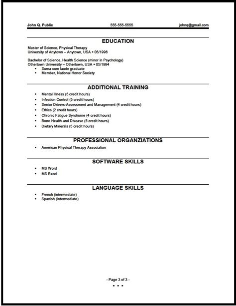 resume exle for pysical therapist