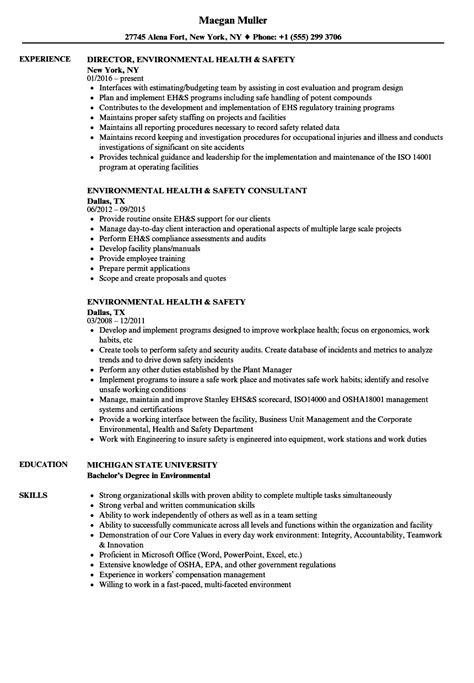 Environmental Health & Safety Resume Samples   Velvet Jobs