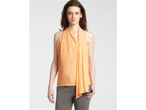 draped halter top halston heritage halter top with draped scarf detail in