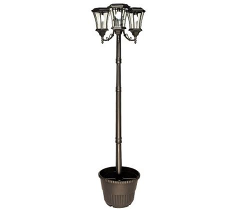 solar powered 3 head solar l post planter qvc com