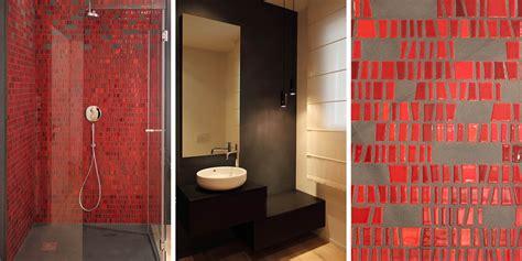 Bagno Mosaico Rosso by Casa A Riverbera Architettura Design