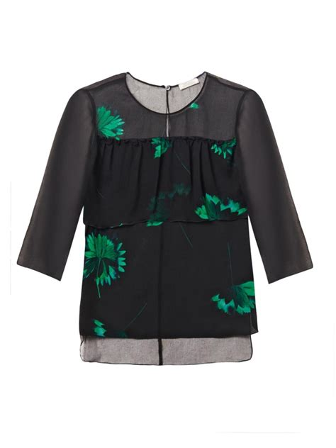 30753 Chiffon Blouse Green ricci floral print silk chiffon blouse in green lyst