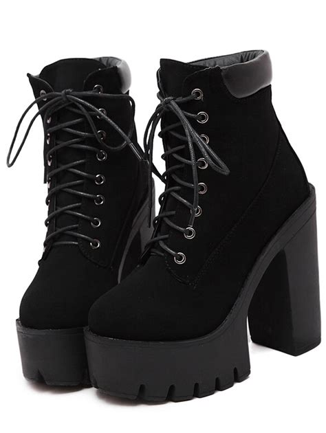 platform boots black chunky high heel platform boots