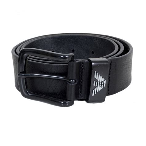 Casual Belt Black black leather belt with embossed eagle on belt loop